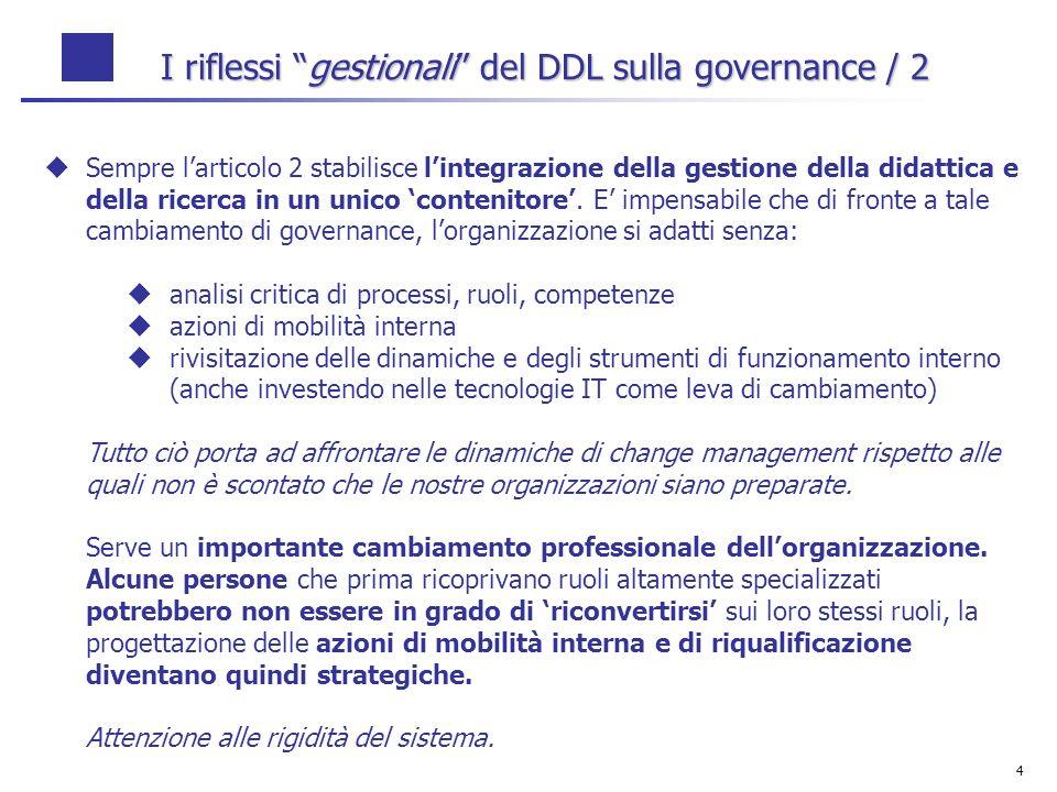 4 I riflessi gestionali del DDL sulla governance / 2 Sempre larticolo 2 stabilisce lintegrazione della gestione della didattica e della ricerca in un unico contenitore.