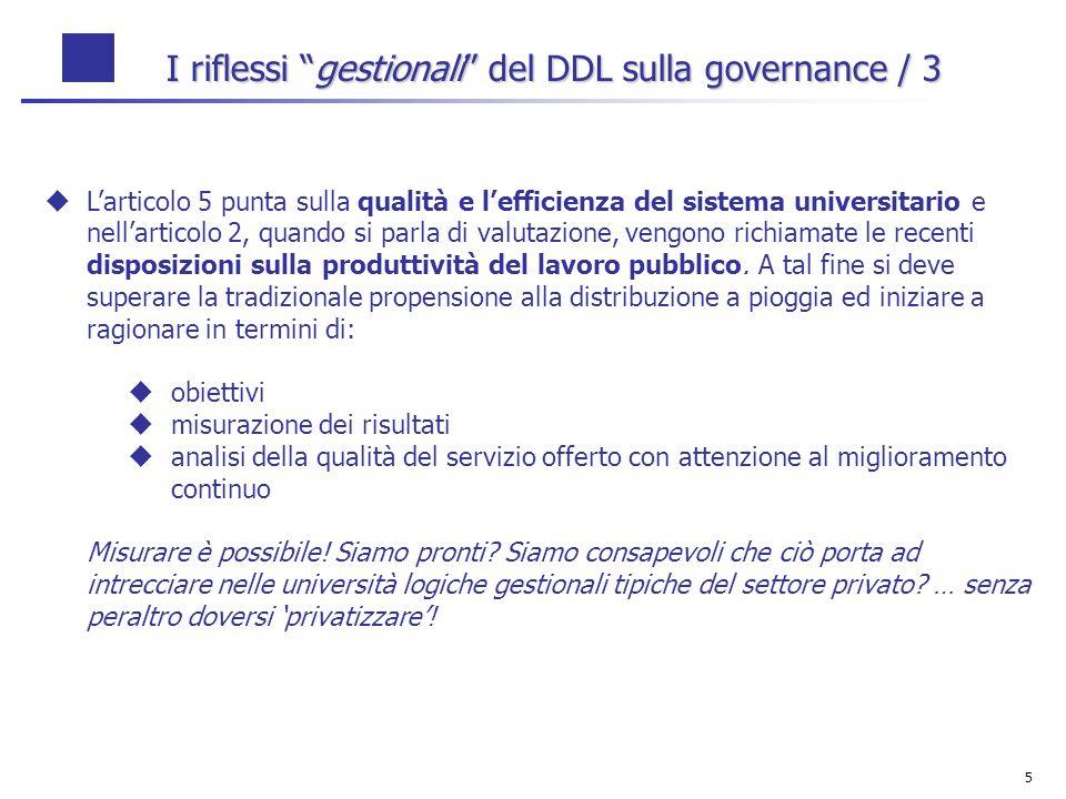5 I riflessi gestionali del DDL sulla governance / 3 Larticolo 5 punta sulla qualità e lefficienza del sistema universitario e nellarticolo 2, quando si parla di valutazione, vengono richiamate le recenti disposizioni sulla produttività del lavoro pubblico.