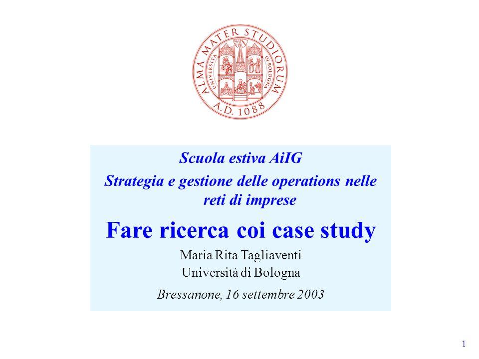 1 Scuola estiva AiIG Strategia e gestione delle operations nelle reti di imprese Fare ricerca coi case study Maria Rita Tagliaventi Università di Bolo