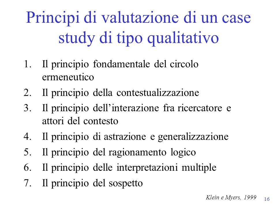 16 1.Il principio fondamentale del circolo ermeneutico 2.Il principio della contestualizzazione 3.Il principio dellinterazione fra ricercatore e attor