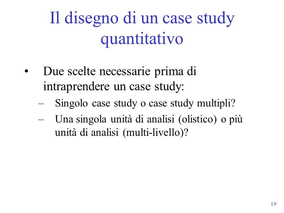 19 Due scelte necessarie prima di intraprendere un case study: –Singolo case study o case study multipli? –Una singola unità di analisi (olistico) o p