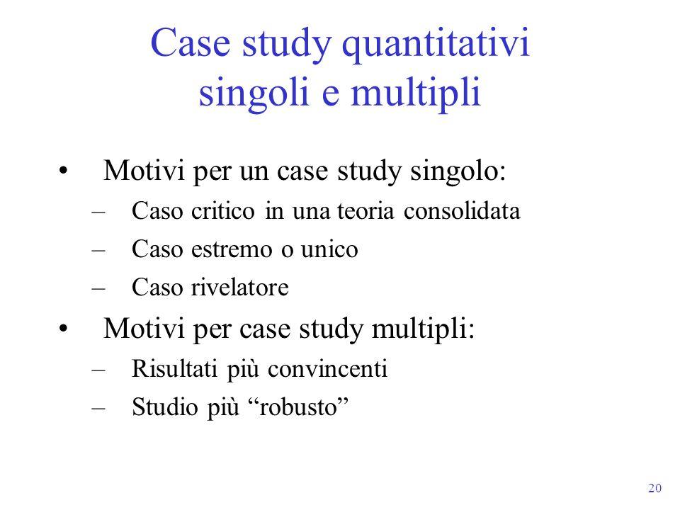 20 Motivi per un case study singolo: –Caso critico in una teoria consolidata –Caso estremo o unico –Caso rivelatore Motivi per case study multipli: –R