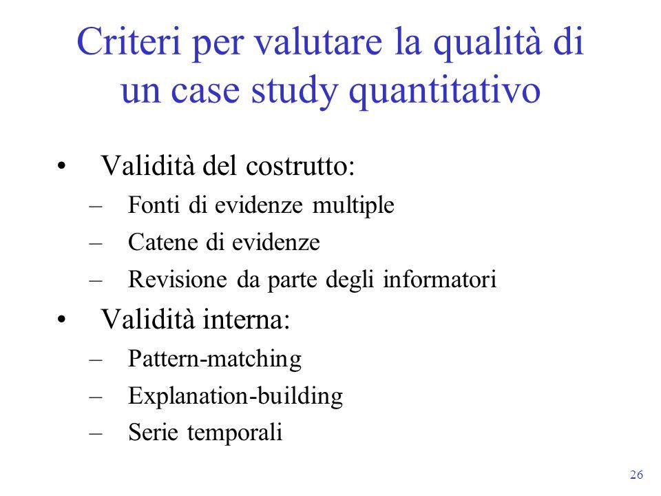 26 Validità del costrutto: –Fonti di evidenze multiple –Catene di evidenze –Revisione da parte degli informatori Validità interna: –Pattern-matching –