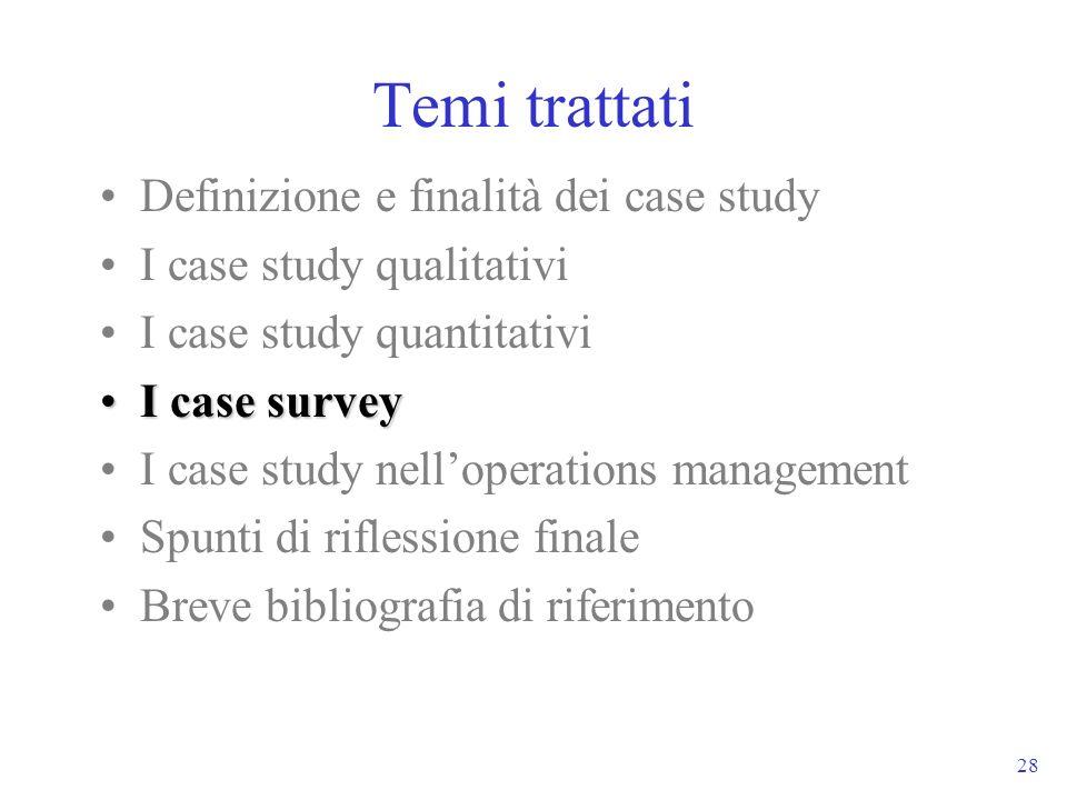 28 Temi trattati Definizione e finalità dei case study I case study qualitativi I case study quantitativi I case surveyI case survey I case study nell