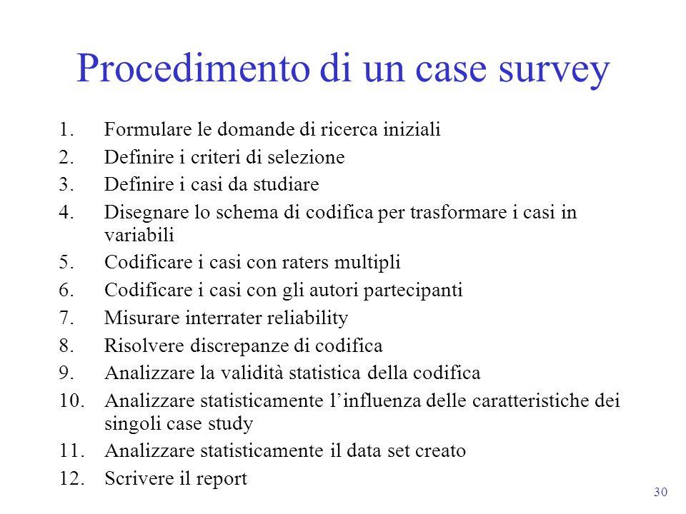 30 1.Formulare le domande di ricerca iniziali 2.Definire i criteri di selezione 3.Definire i casi da studiare 4.Disegnare lo schema di codifica per tr