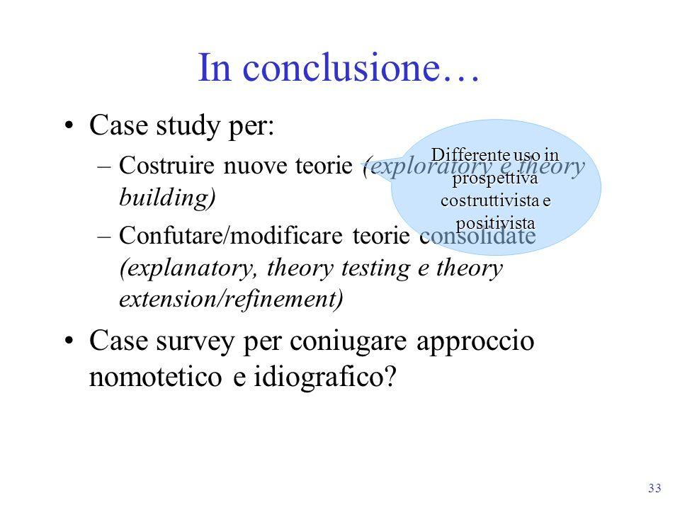 33 In conclusione… Case study per: –Costruire nuove teorie (exploratory e theory building) –Confutare/modificare teorie consolidate (explanatory, theo