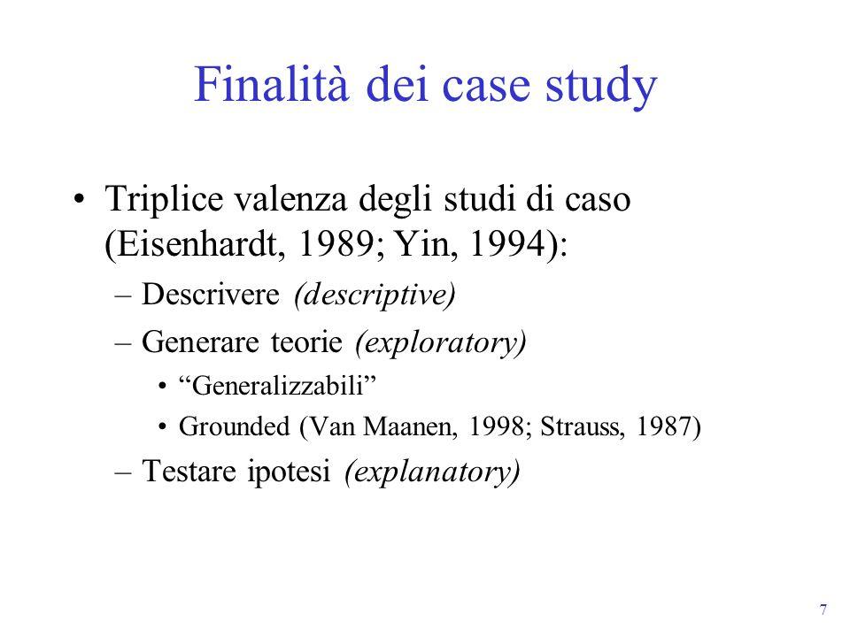 7 Finalità dei case study Triplice valenza degli studi di caso (Eisenhardt, 1989; Yin, 1994): –Descrivere (descriptive) –Generare teorie (exploratory)