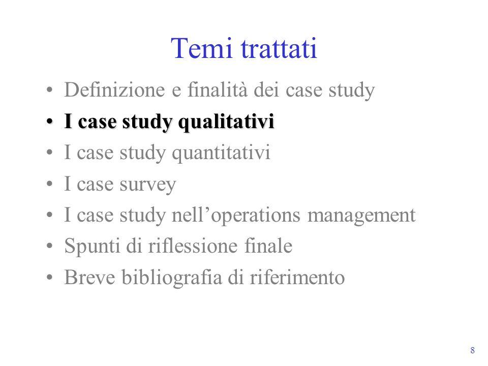 8 Temi trattati Definizione e finalità dei case study I case study qualitativiI case study qualitativi I case study quantitativi I case survey I case