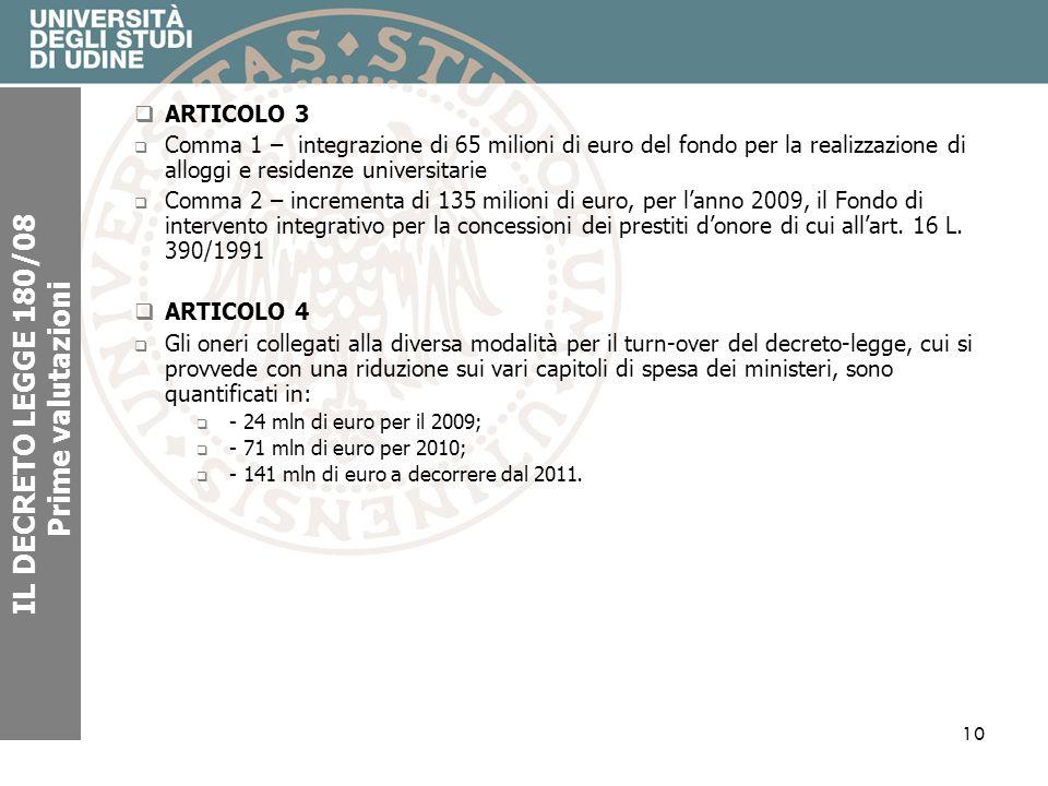 10 IL DECRETO LEGGE 180/08 Prime valutazioni ARTICOLO 3 Comma 1 – integrazione di 65 milioni di euro del fondo per la realizzazione di alloggi e resid