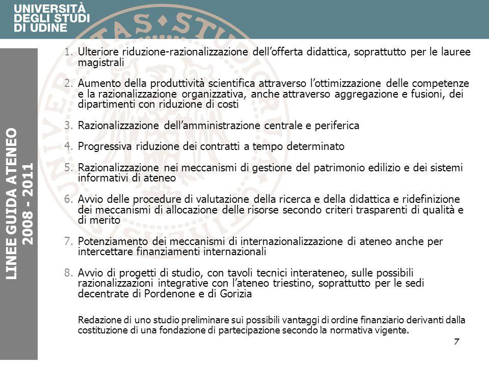 7 LINEE GUIDA ATENEO 2008 - 2011 1.Ulteriore riduzione-razionalizzazione dellofferta didattica, soprattutto per le lauree magistrali 2.Aumento della p