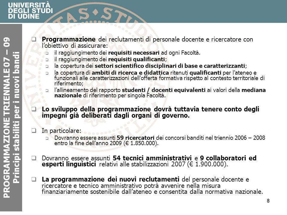 8 PROGRAMMAZIONE TRIENNALE 07 – 09 Principi stabiliti per i nuovi bandi Programmazione dei reclutamenti di personale docente e ricercatore con lobiettivo di assicurare: il raggiungimento dei requisiti necessari ad ogni Facoltà.