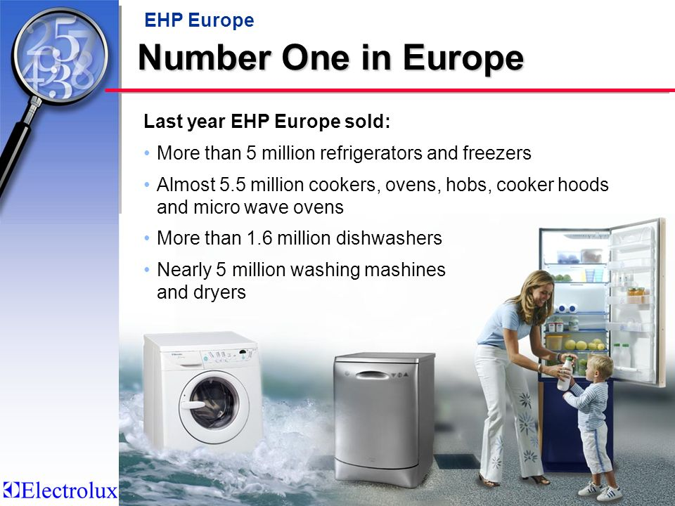 Number One in Europe EHP Europe Last year EHP Europe sold: More than 5 million refrigerators and freezers Almost 5.5 million cookers, ovens, hobs, cooker hoods and micro wave ovens More than 1.6 million dishwashers Nearly 5 million washing mashines and dryers
