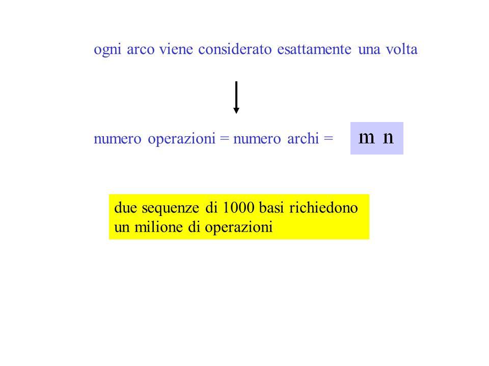 ogni arco viene considerato esattamente una volta numero operazioni = numero archi = due sequenze di 1000 basi richiedono un milione di operazioni