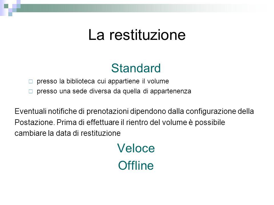 La restituzione Standard presso la biblioteca cui appartiene il volume presso una sede diversa da quella di appartenenza Eventuali notifiche di prenotazioni dipendono dalla configurazione della Postazione.