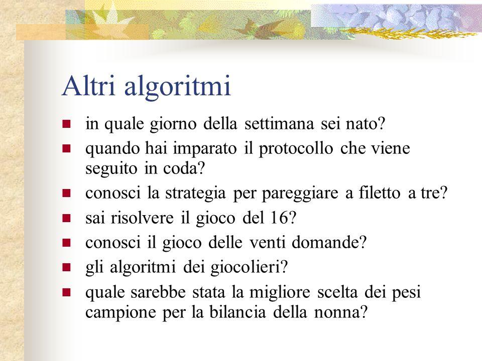 Altri algoritmi in quale giorno della settimana sei nato? quando hai imparato il protocollo che viene seguito in coda? conosci la strategia per paregg