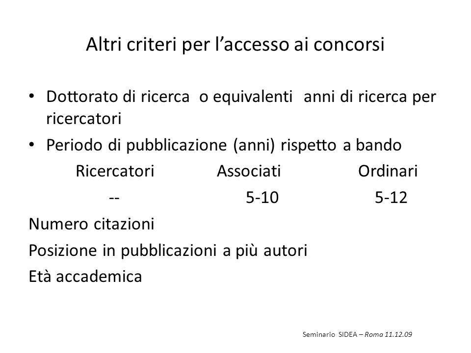 Altri criteri per laccesso ai concorsi Dottorato di ricerca o equivalenti anni di ricerca per ricercatori Periodo di pubblicazione (anni) rispetto a b