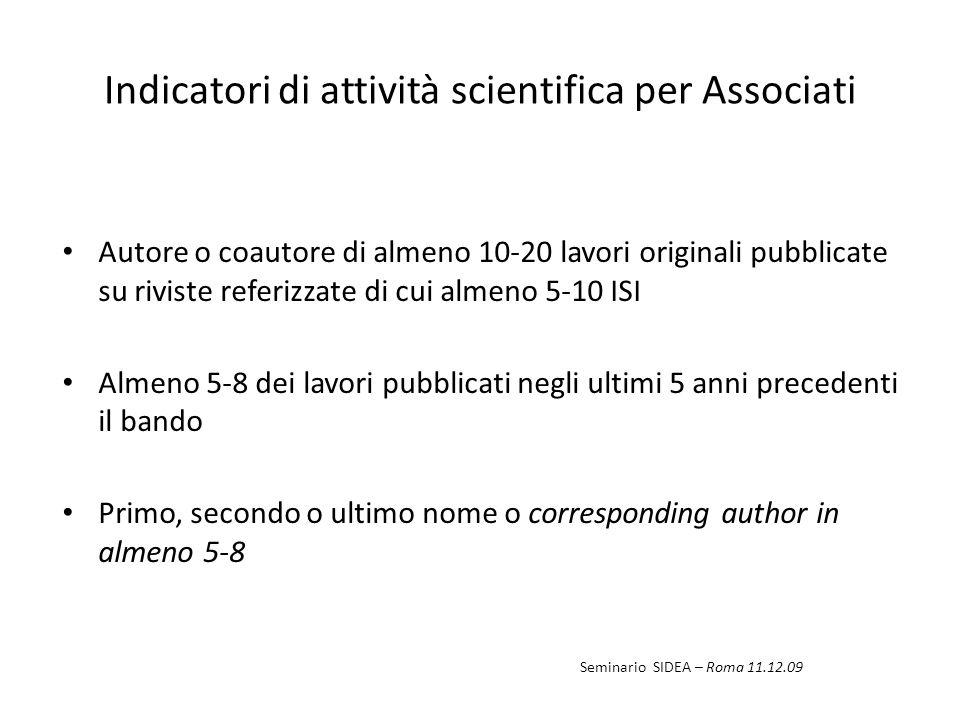 Indicatori di attività scientifica per Associati Autore o coautore di almeno 10-20 lavori originali pubblicate su riviste referizzate di cui almeno 5-