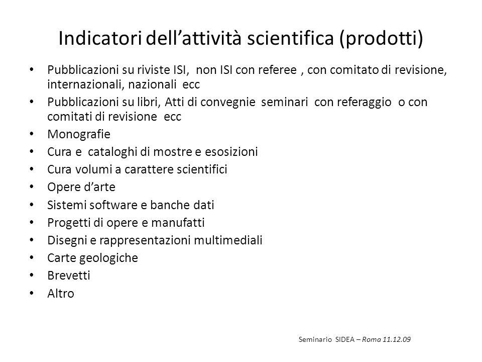 Indicatori dellattività scientifica (prodotti) Pubblicazioni su riviste ISI, non ISI con referee, con comitato di revisione, internazionali, nazionali