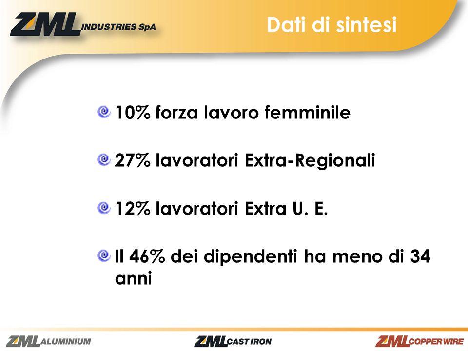 Dati di sintesi 10% forza lavoro femminile 27% lavoratori Extra-Regionali 12% lavoratori Extra U.