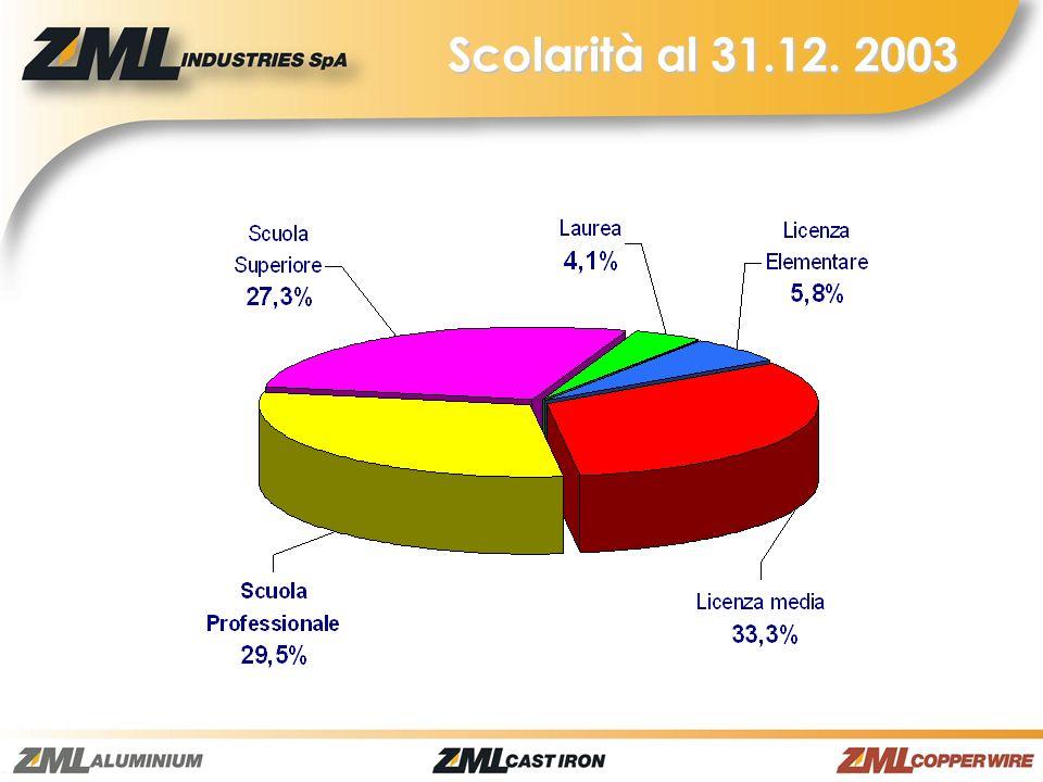 Scolarità al 31.12. 2003