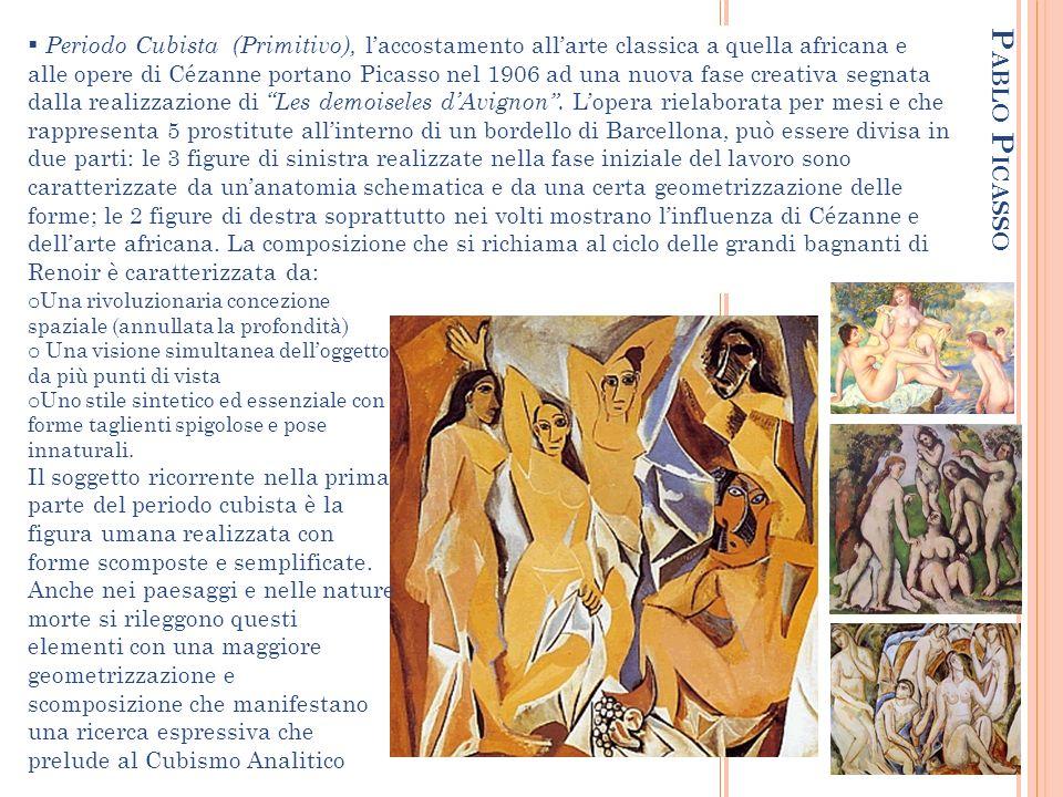 P ABLO P ICASSO Periodo Cubista (Primitivo), laccostamento allarte classica a quella africana e alle opere di Cézanne portano Picasso nel 1906 ad una nuova fase creativa segnata dalla realizzazione di Les demoiseles dAvignon.