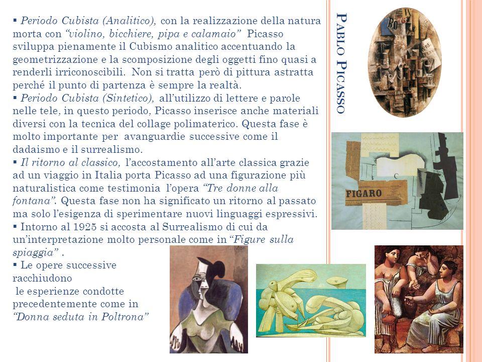 P ABLO P ICASSO Periodo Cubista (Analitico), con la realizzazione della natura morta con violino, bicchiere, pipa e calamaio Picasso sviluppa pienamen