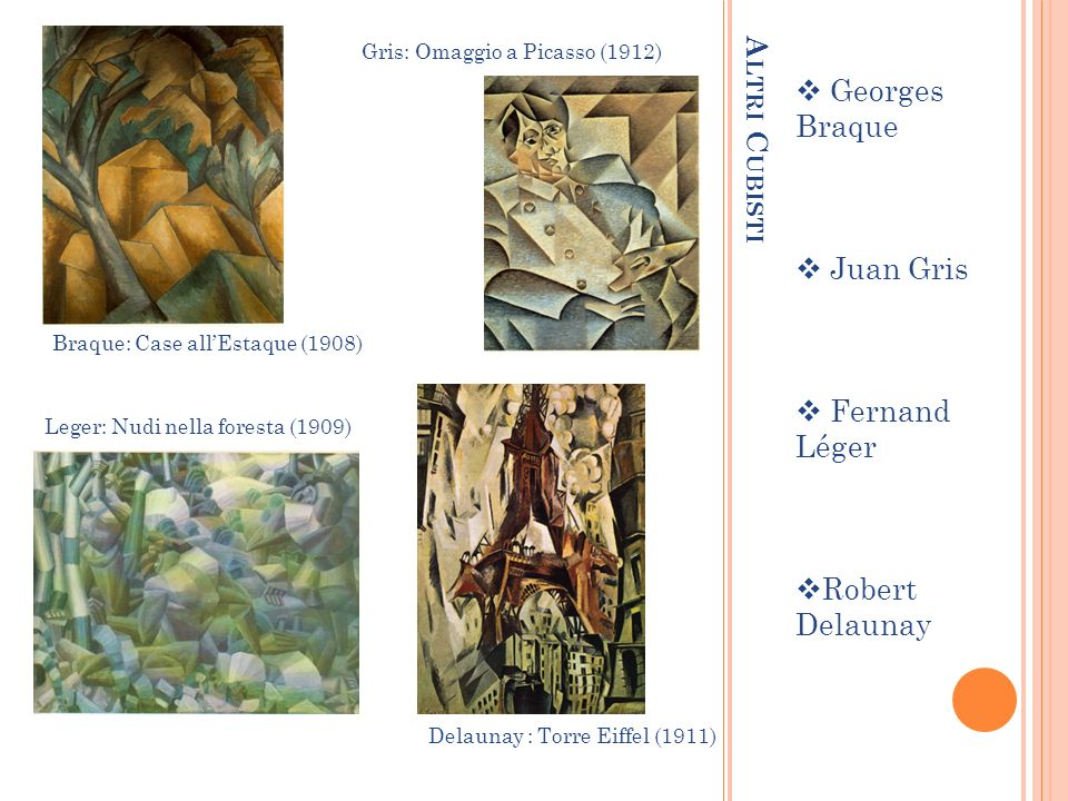 A LTRI C UBISTI Georges Braque Juan Gris Fernand Léger Robert Delaunay Braque: Case allEstaque (1908) Gris: Omaggio a Picasso (1912) Leger: Nudi nella foresta (1909) Delaunay : Torre Eiffel (1911)