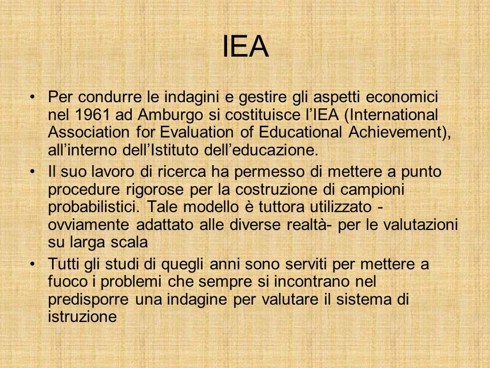 IEA Per condurre le indagini e gestire gli aspetti economici nel 1961 ad Amburgo si costituisce lIEA (International Association for Evaluation of Educational Achievement), allinterno dellIstituto delleducazione.