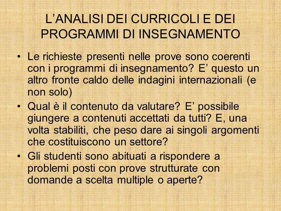 LANALISI DEI CURRICOLI E DEI PROGRAMMI DI INSEGNAMENTO Le richieste presenti nelle prove sono coerenti con i programmi di insegnamento.