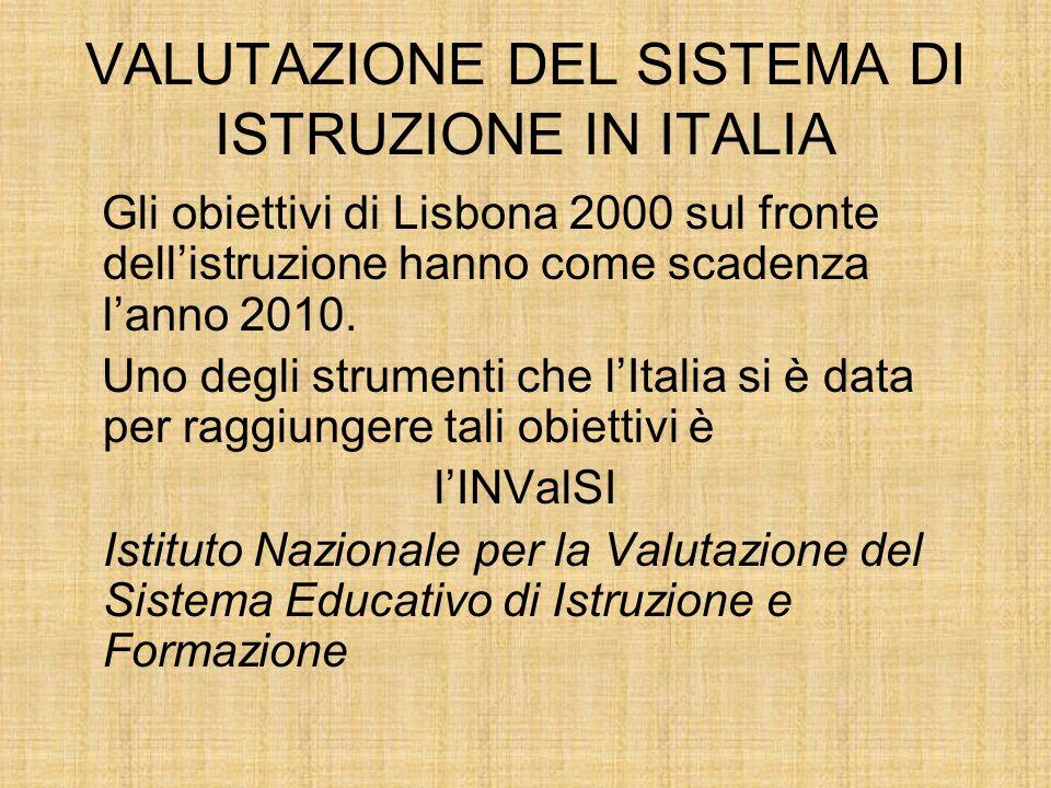 VALUTAZIONE DEL SISTEMA DI ISTRUZIONE IN ITALIA Gli obiettivi di Lisbona 2000 sul fronte dellistruzione hanno come scadenza lanno 2010.