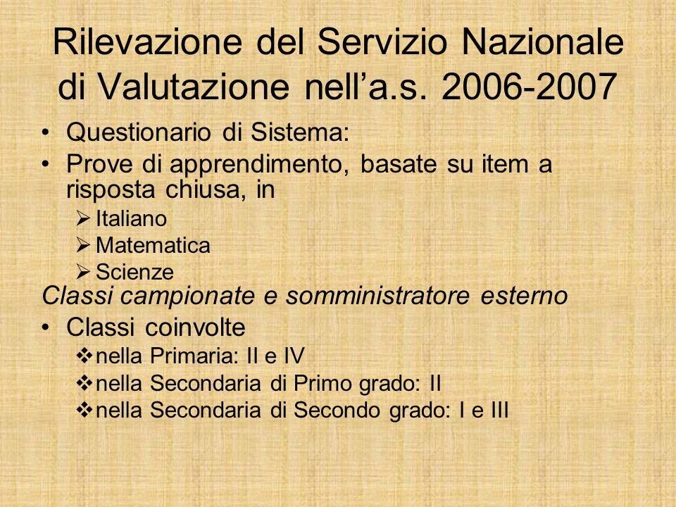 Rilevazione del Servizio Nazionale di Valutazione nella.s.