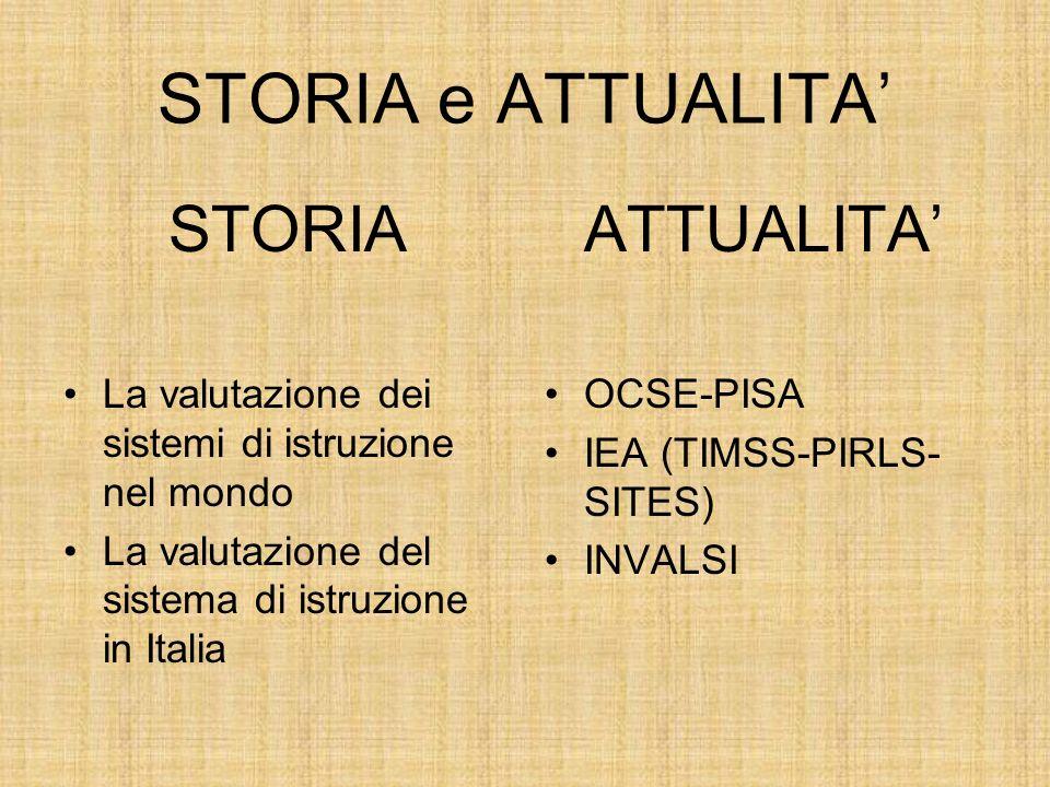 STORIA e ATTUALITA STORIA La valutazione dei sistemi di istruzione nel mondo La valutazione del sistema di istruzione in Italia ATTUALITA OCSE-PISA IEA (TIMSS-PIRLS- SITES) INVALSI