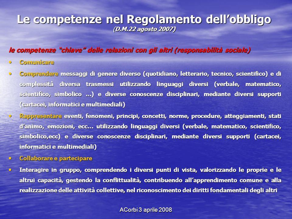 ACorbi 3 aprile 2008 Le competenze nel Regolamento dellobbligo (D.M.22 agosto 2007) le competenze chiave delle relazioni con gli altri (responsabilità