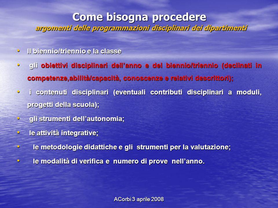 ACorbi 3 aprile 2008 Come bisogna procedere argomenti delle programmazioni disciplinari dei dipartimenti Il biennio/triennio e la classe Il biennio/tr