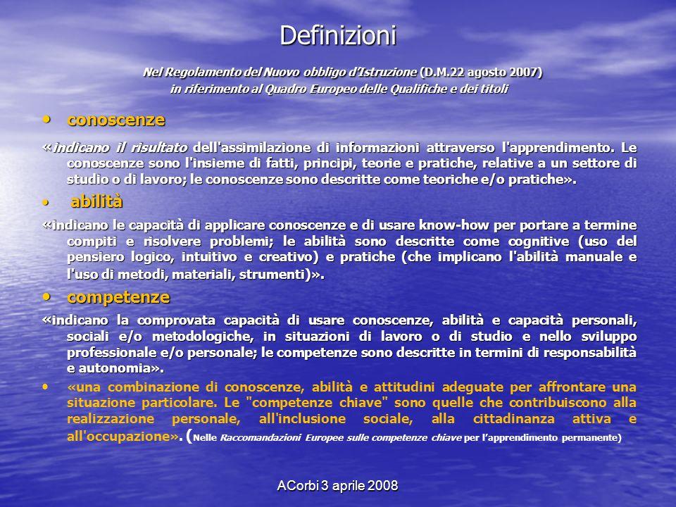 ACorbi 3 aprile 2008 Definizioni Nel Regolamento del Nuovo obbligo dIstruzione (D.M.22 agosto 2007) in riferimento al Quadro Europeo delle Qualifiche