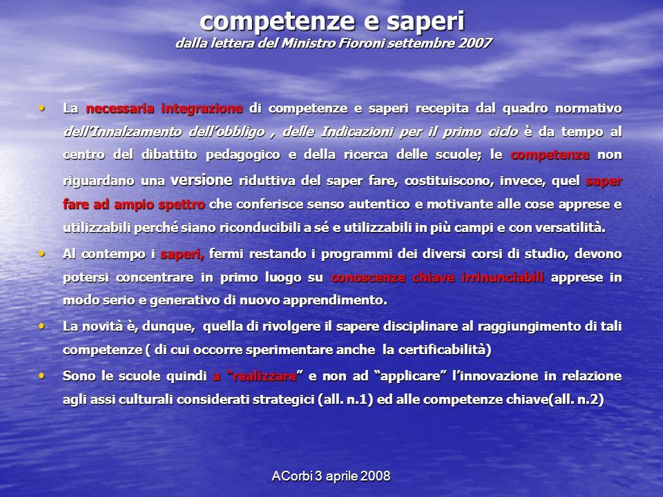 ACorbi 3 aprile 2008 competenze e saperi dalla lettera del Ministro Fioroni settembre 2007 La necessaria integrazione di competenze e saperi recepita