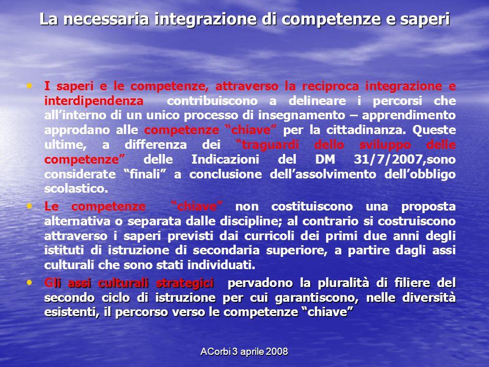 ACorbi 3 aprile 2008 La necessaria integrazione di competenze e saperi I saperi e le competenze, attraverso la reciproca integrazione e interdipendenz
