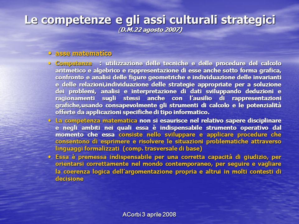 ACorbi 3 aprile 2008 Le competenze e gli assi culturali strategici (D.M.22 agosto 2007) asse matematico asse matematico Competenze : utilizzazione del