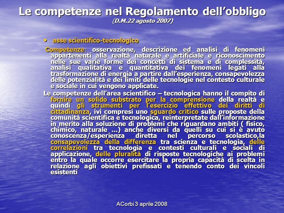 ACorbi 3 aprile 2008 Le competenze nel Regolamento dellobbligo (D.M.22 agosto 2007) asse scientifico-tecnologico asse scientifico-tecnologico Competen