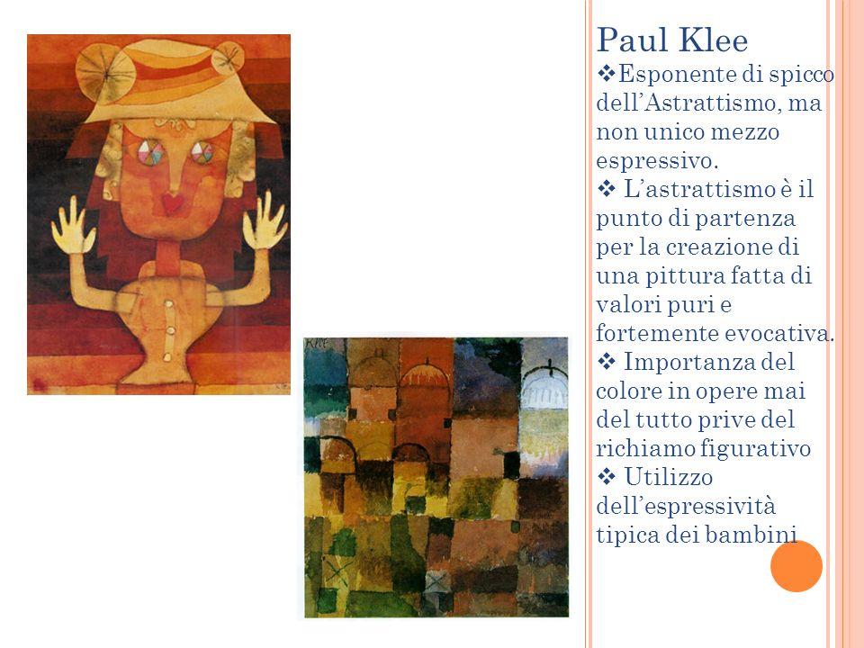 Paul Klee Esponente di spicco dellAstrattismo, ma non unico mezzo espressivo. Lastrattismo è il punto di partenza per la creazione di una pittura fatt