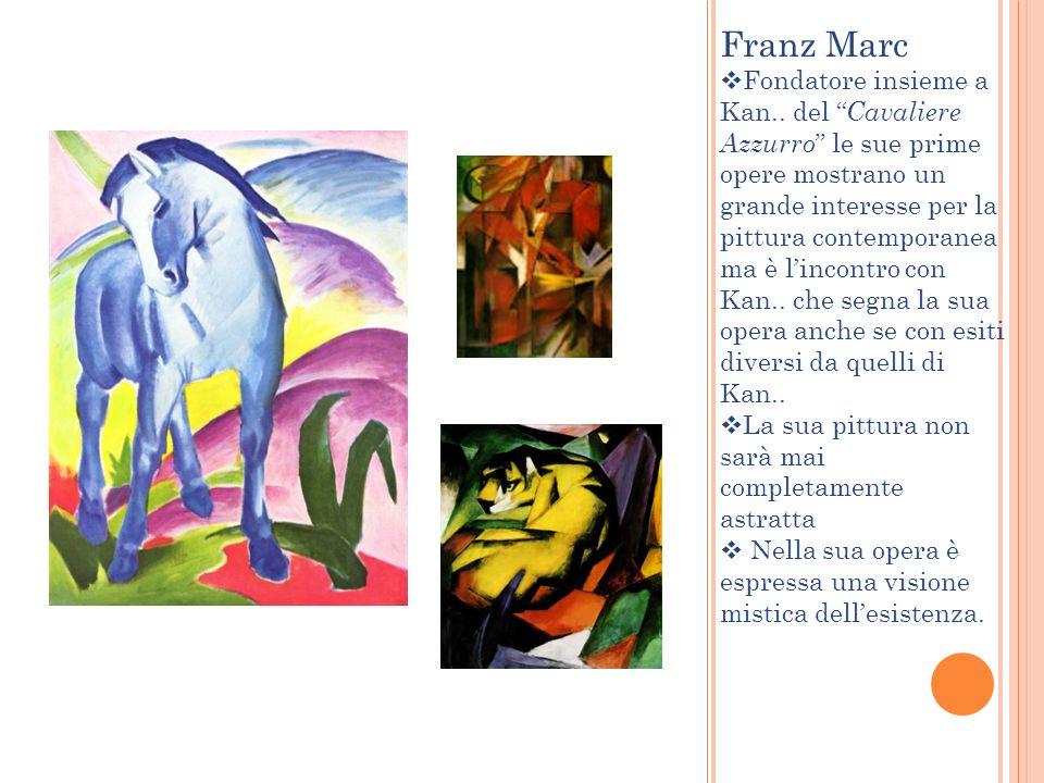 Franz Marc Fondatore insieme a Kan.. del Cavaliere Azzurro le sue prime opere mostrano un grande interesse per la pittura contemporanea ma è lincontro