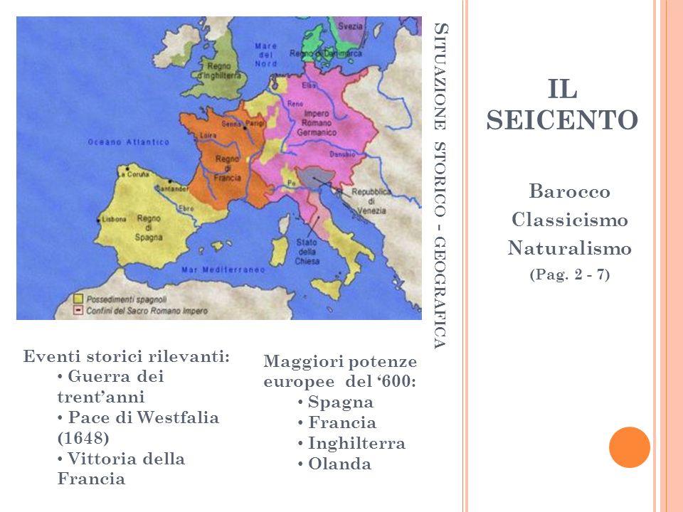 S ITUAZIONE STORICO - GEOGRAFICA Maggiori potenze europee del 600: Spagna Francia Inghilterra Olanda Eventi storici rilevanti: Guerra dei trentanni Pa