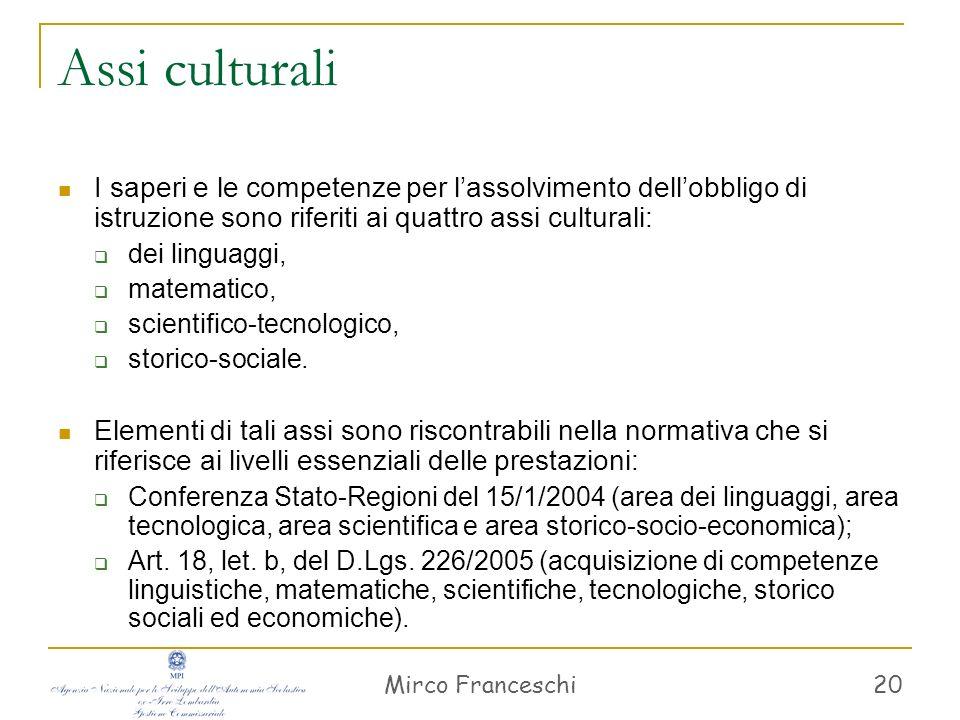 Mirco Franceschi 20 Assi culturali I saperi e le competenze per lassolvimento dellobbligo di istruzione sono riferiti ai quattro assi culturali: dei l