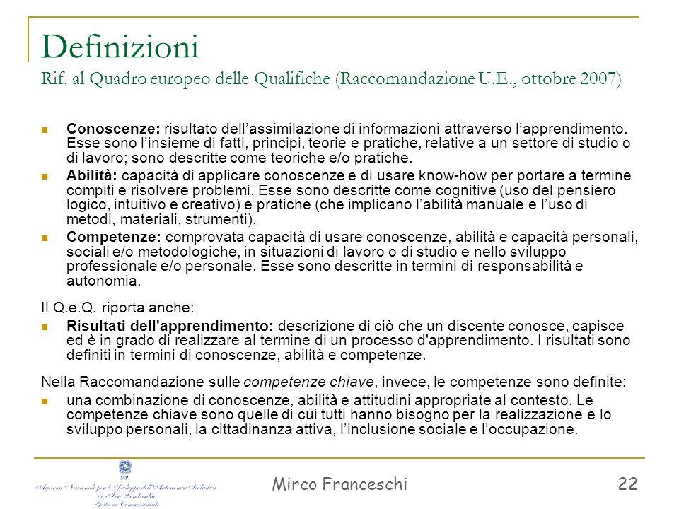 Mirco Franceschi 22 Definizioni Rif. al Quadro europeo delle Qualifiche (Raccomandazione U.E., ottobre 2007) Conoscenze: risultato dellassimilazione d