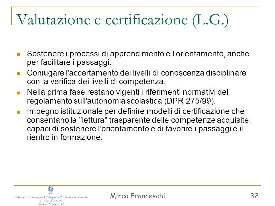 Mirco Franceschi 32 Valutazione e certificazione (L.G.) Sostenere i processi di apprendimento e lorientamento, anche per facilitare i passaggi. Coniug