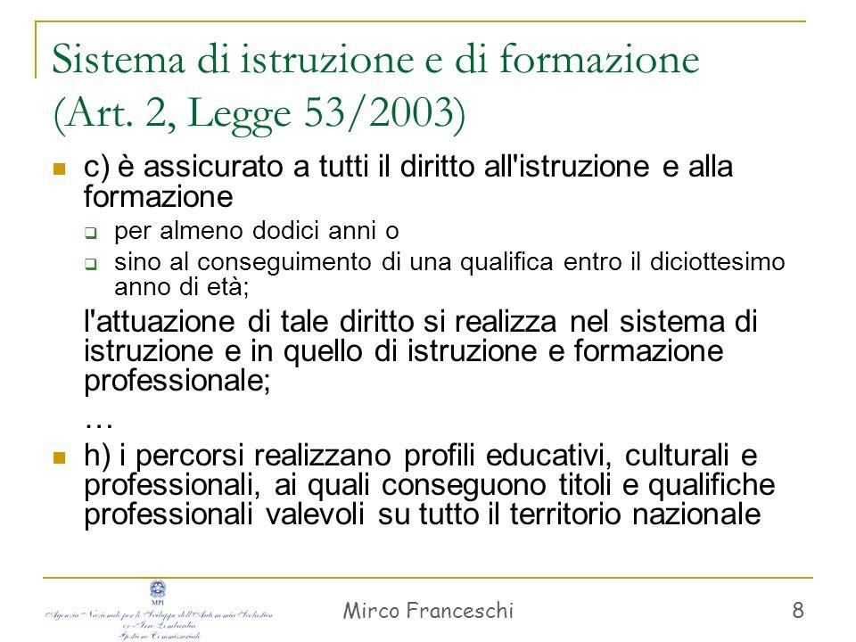 Mirco Franceschi 8 Sistema di istruzione e di formazione (Art. 2, Legge 53/2003) c) è assicurato a tutti il diritto all'istruzione e alla formazione p