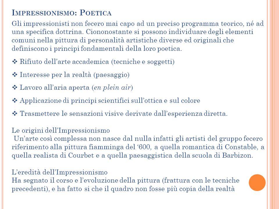 Gli impressionisti non fecero mai capo ad un preciso programma teorico, né ad una specifica dottrina. Ciononostante si possono individuare degli eleme