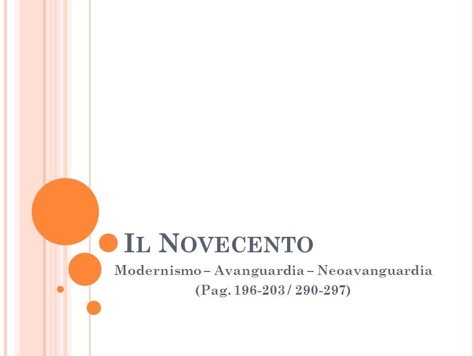 I L N OVECENTO Modernismo – Avanguardia – Neoavanguardia (Pag. 196-203 / 290-297)