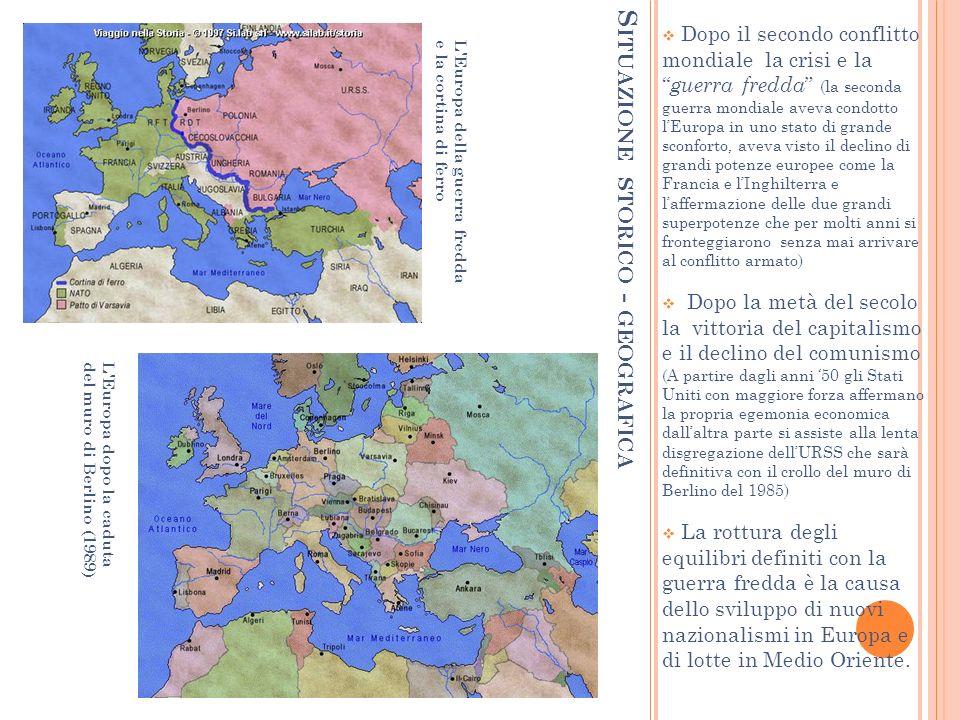 S ITUAZIONE STORICO - GEOGRAFICA Dopo il secondo conflitto mondiale la crisi e la guerra fredda (la seconda guerra mondiale aveva condotto lEuropa in