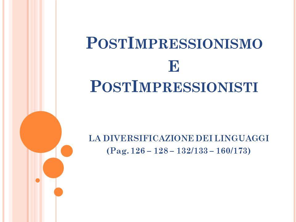 P OST I MPRESSIONISMO E P OST I MPRESSIONISTI LA DIVERSIFICAZIONE DEI LINGUAGGI (Pag. 126 – 128 – 132/133 – 160/173)